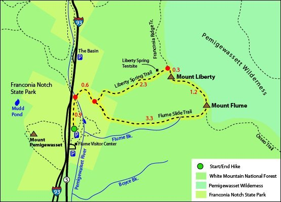 Mount Liberty and Flum Trail Map