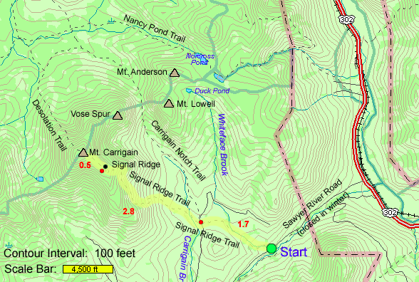 Signal Ridge Mount Carrigain Trail Map