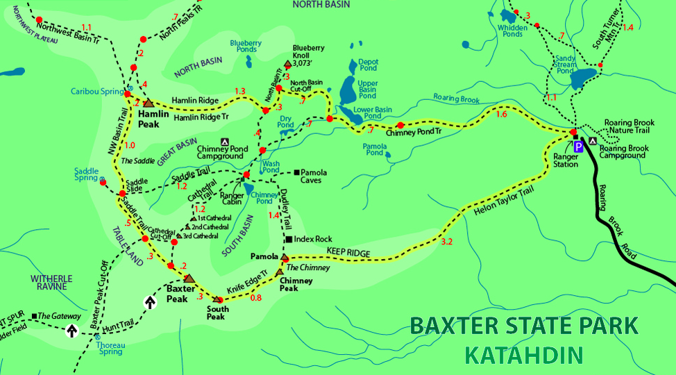 Baxter State Park & Mount Katahdin Trail Map