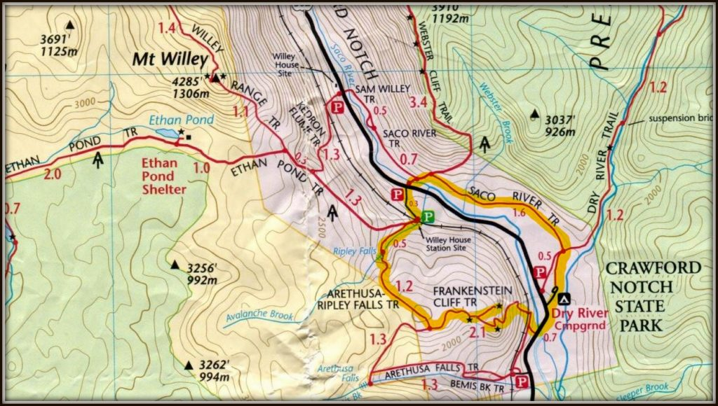 Arethusa and Ripley Falls Trail Map