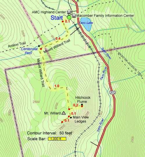 Mount Willard Trail Map