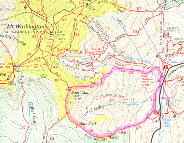 Boot Spur Trail Map
