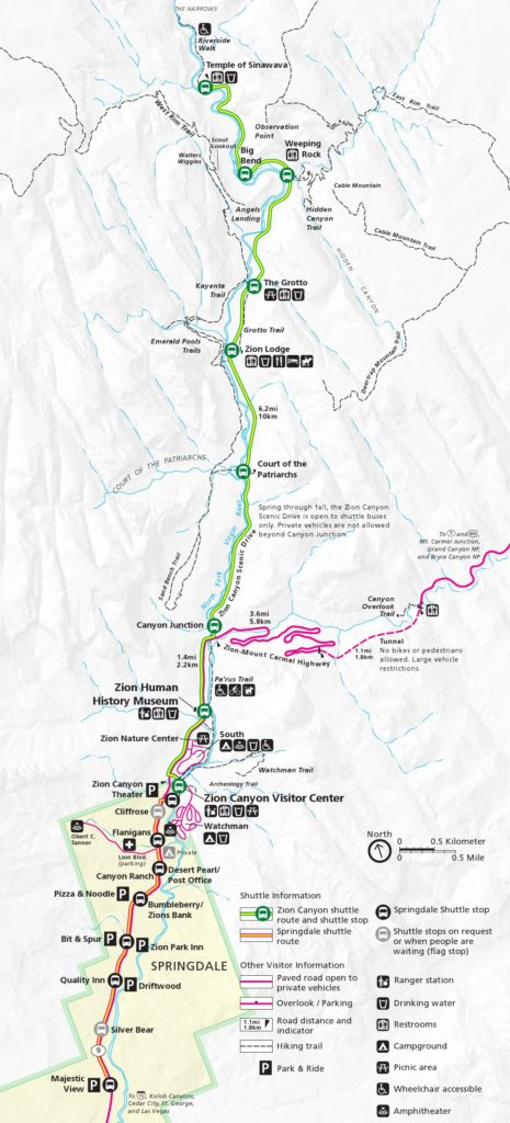 Zion Shuttle Stop Map with trails