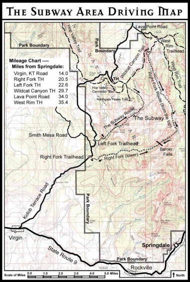 The Subway Trail Map - Zion National park