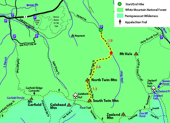 North and South Twin Trail Map