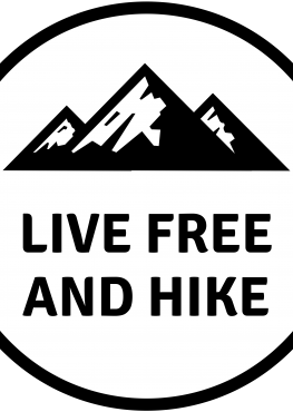Live Free And Hike black and white Sticker
