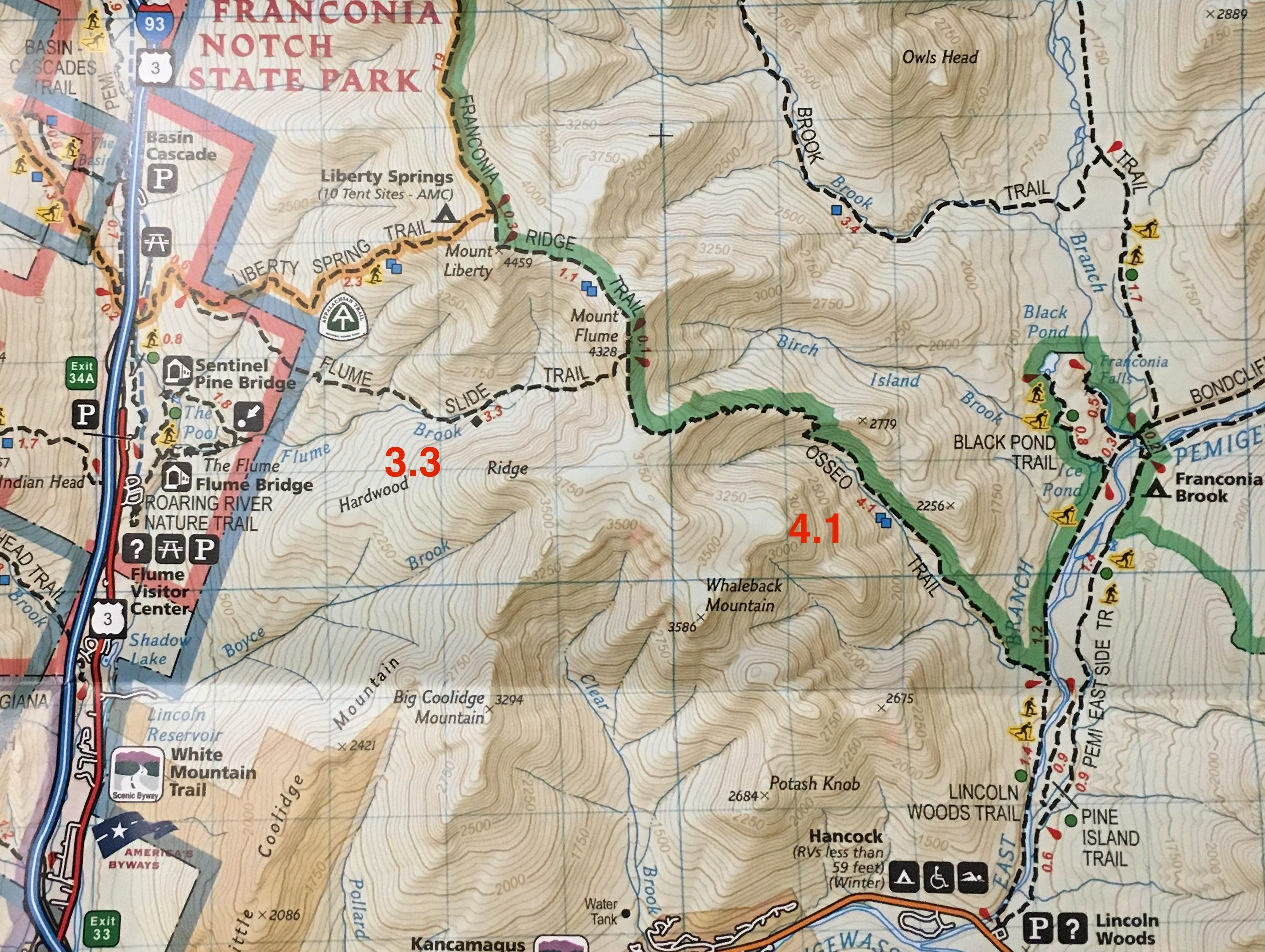 Mount Flume Trail Map