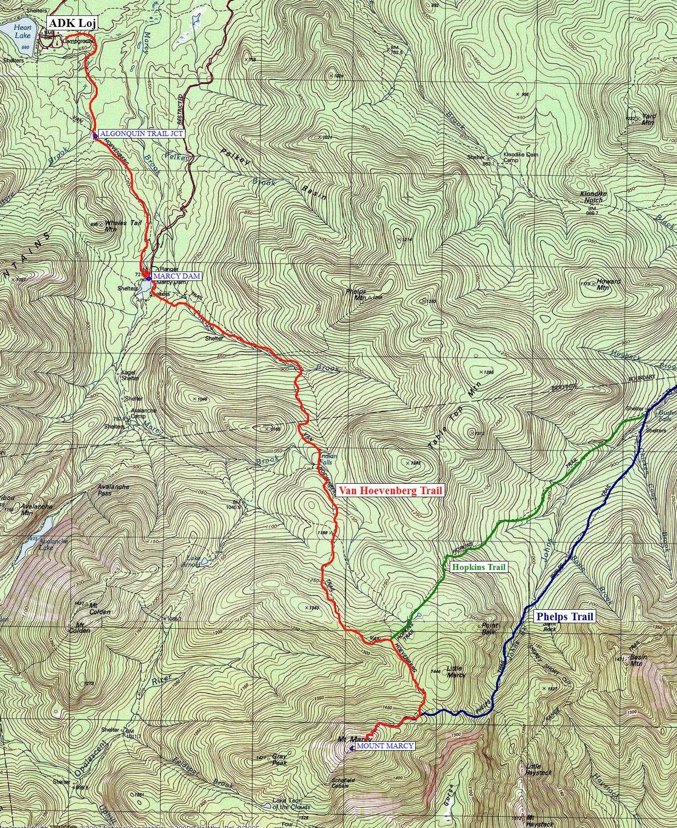 Mount Marcy Trail Map