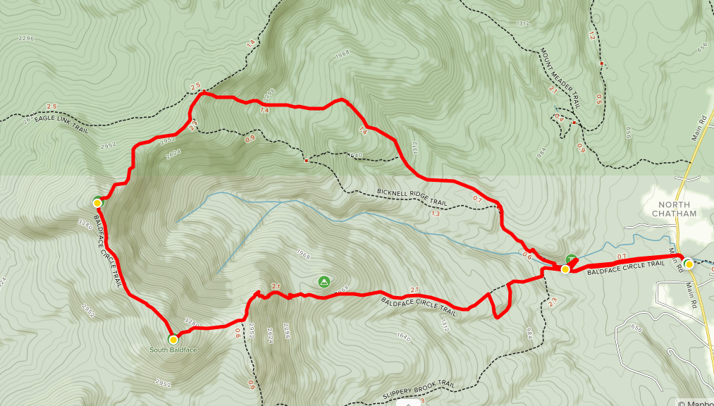 North and South Baldface Trail Map