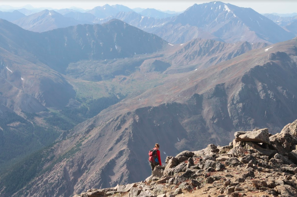 Hiker Heading Down From Mount Massive Summit