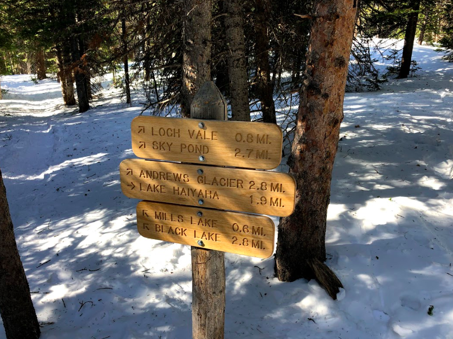 Trail Sign on Loch Vale Trail to Sky Pond