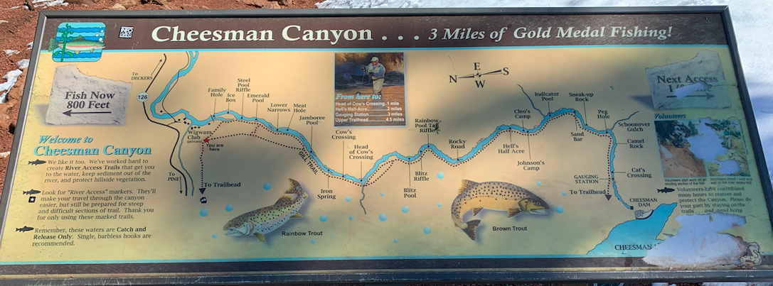 Cheesman Canyon Fishing Map