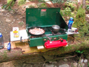 Cooking on a Coleman Two Burner Stove