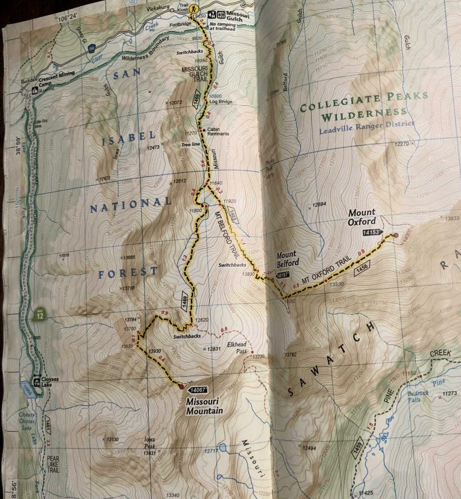 Mount Belford And Oxford Trail Map