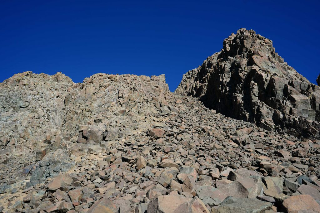 Looking up Lavender Couloir from saddle at the top of the scree field