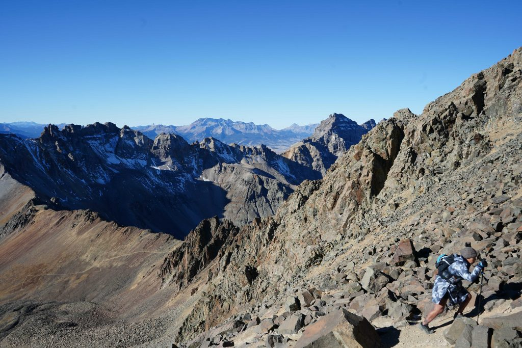 Photo from scree chute looking at the class 3 southwest ridge