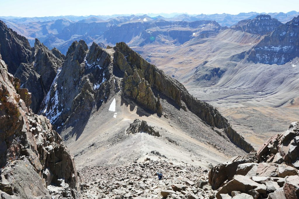 Viewing Scree Chute From Bottom Of Lavender Couloir