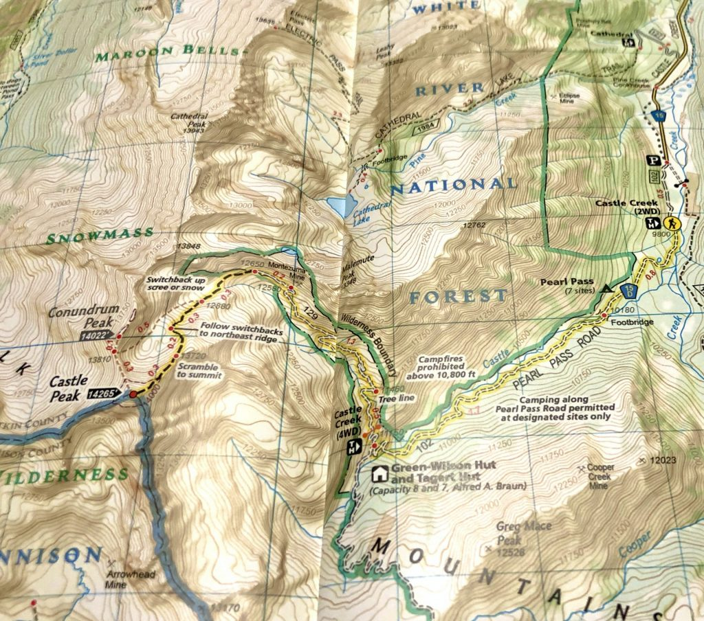 Castle And Conundrum Peak Trail Map