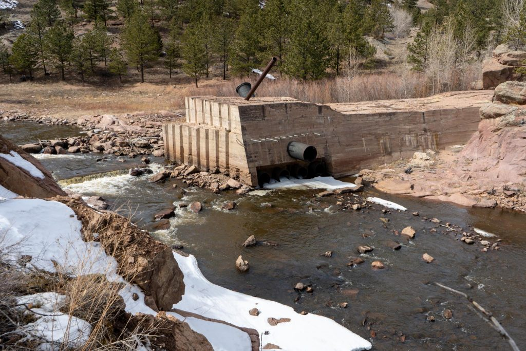 An old dam along the river