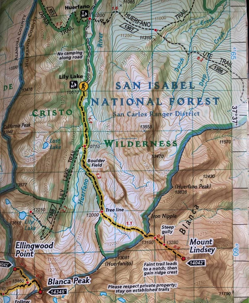 Mount Lindsey Trail Map
