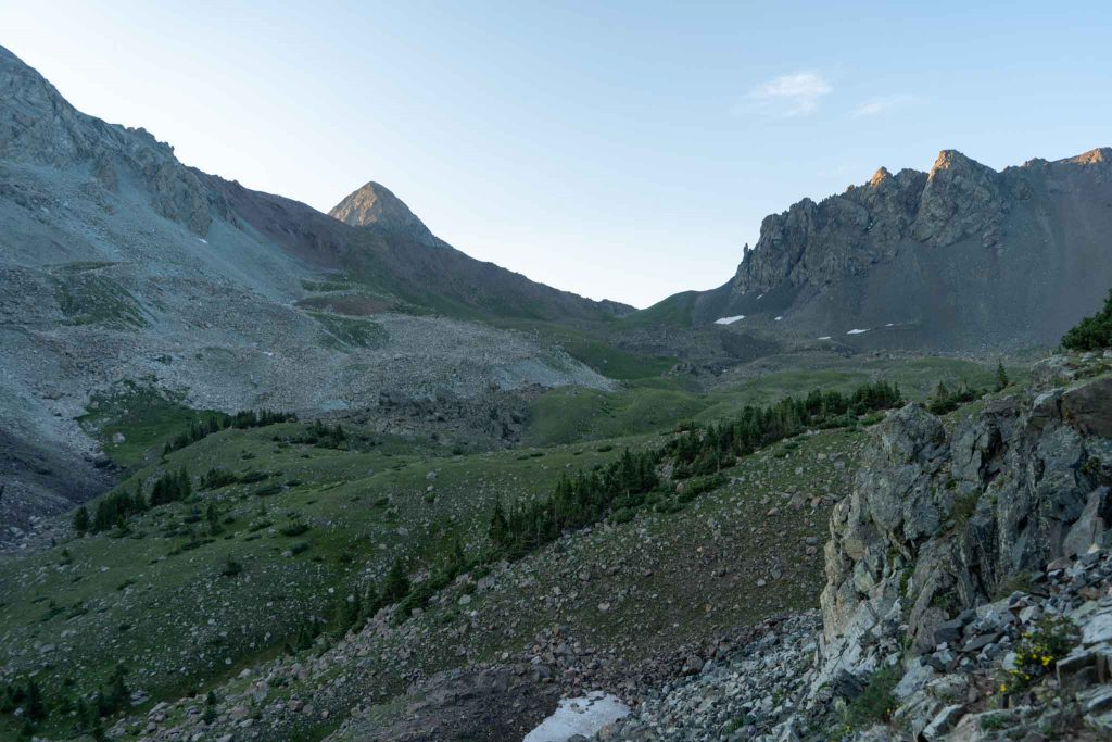 Views of Mount Lindsey from the basin