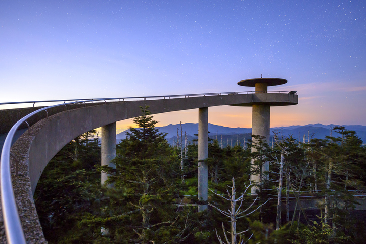 Clingman's Dome mountaintop observatory in the Great Smoky Mountains, Tennessee, USA.