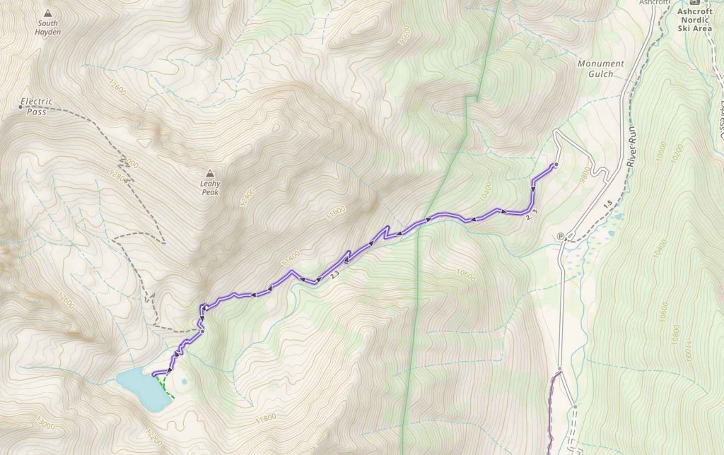Cathedral Lake, Colorado Trail Map